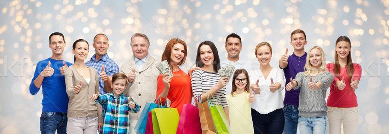 Stock fotó: Boldog · emberek · bevásárlótáskák · pénz · vásár · család · generáció