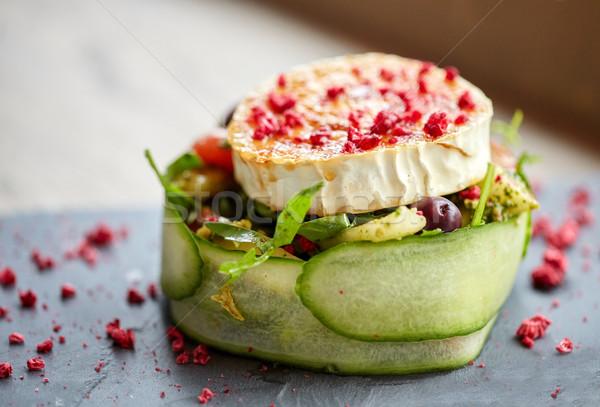 Сток-фото: Сыр · из · козьего · молока · Салат · овощей · кулинарный · кухня