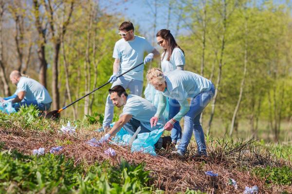 çöp çanta temizlik park gönüllü Stok fotoğraf © dolgachov