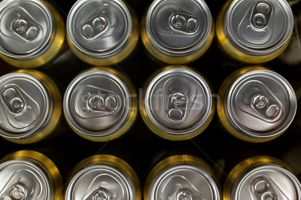close up of cans with drinks Stock photo © dolgachov