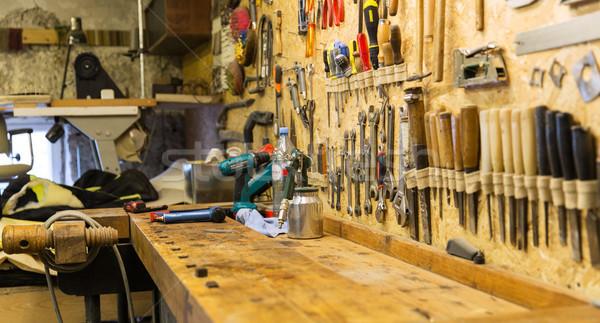 work tools and workbench at workshop Stock photo © dolgachov
