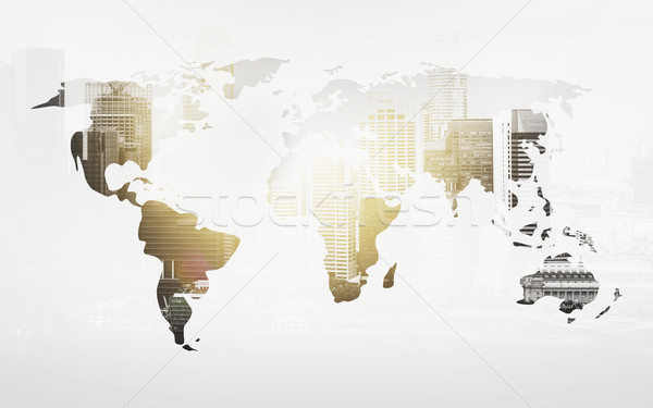 Stock photo: world map with city over white background