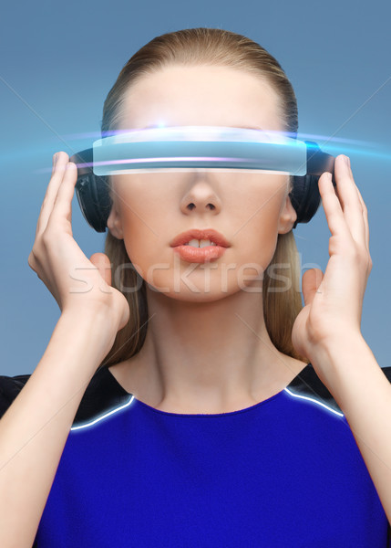 красивая женщина виртуальный реальность 3d очки науки технологий Сток-фото © dolgachov