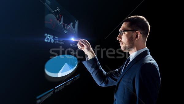 Zakenman werken virtueel cirkeldiagram zakenlieden toekomst Stockfoto © dolgachov