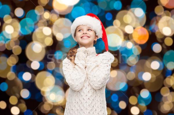 夢 少女 サンタクロース ヘルパー 帽子 ライト ストックフォト © dolgachov