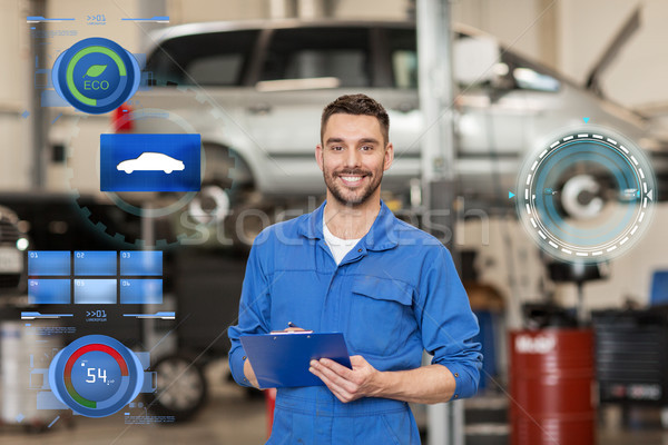 Stock photo: happy mechanic man with clipboard at car workshop