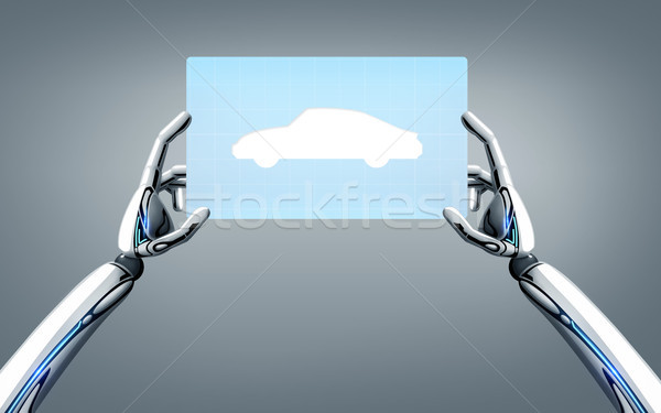Stock photo: robot hands with concept car on tablet pc screen