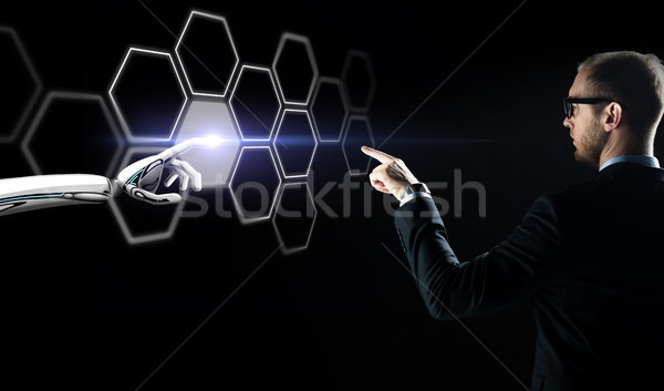 ビジネスマン ロボット 触れる ネットワーク ホログラム 将来 ストックフォト © dolgachov