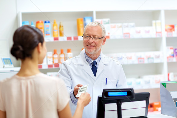 customer giving money to pharmacist at drugstore Stock photo © dolgachov