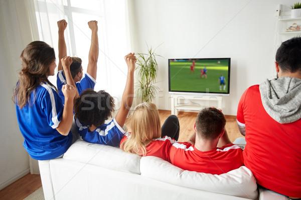Foto d'archivio: Calcio · tifosi · guardare · calcio · gioco · tv