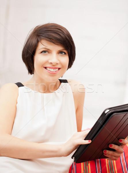 Stok fotoğraf: Mutlu · kadın · bilgisayar · resim · ofis