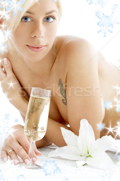 Płatki śniegu topless dziewczyna szampana szkła Zdjęcia stock © dolgachov