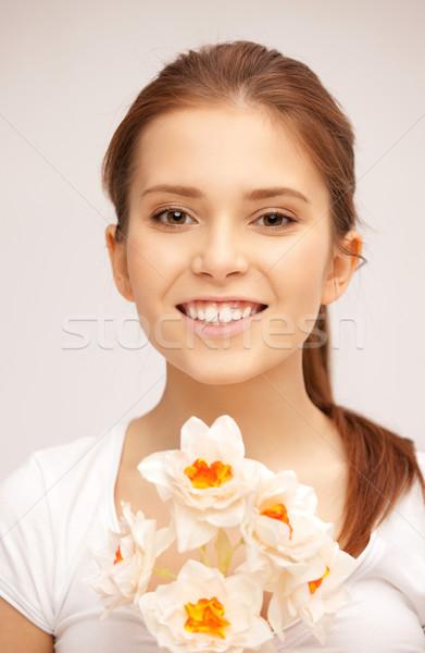 Mooie vrouw witte bloem foto vrouw meisje liefde Stockfoto © dolgachov