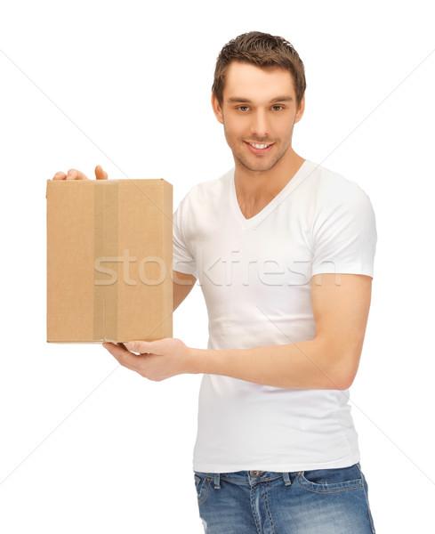 Przystojny mężczyzna duży polu zdjęcie człowiek usługi Zdjęcia stock © dolgachov