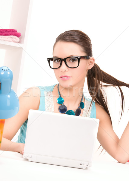 Stock photo: lovely woman laptop computer