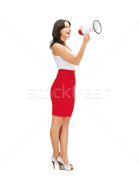 Mujer megáfono Foto maestro equipo Foto stock © dolgachov