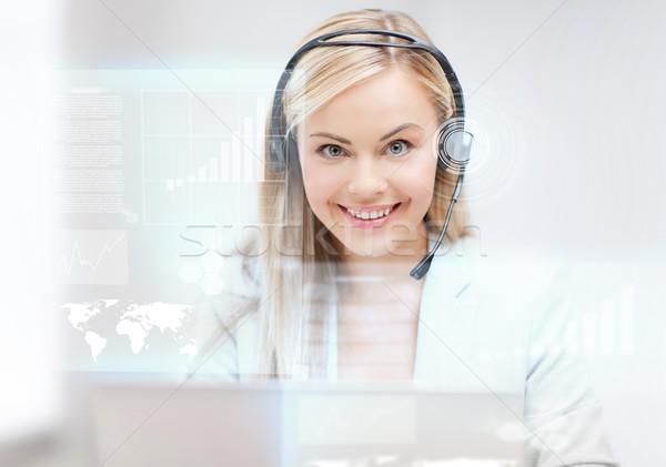 Futurisztikus női segélyvonal kezelő fejhallgató virtuális Stock fotó © dolgachov