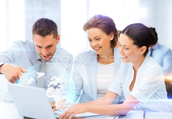 business teamworking with virtual screen Stock photo © dolgachov
