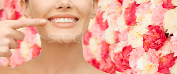 beautiful woman pointing to teeth Stock photo © dolgachov