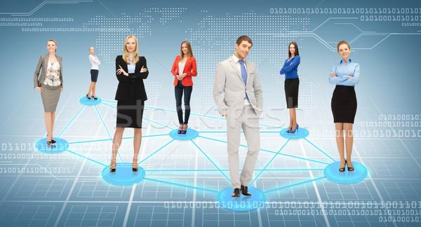 Zdjęcia stock: Społecznej · business · network · działalności · biuro · kobiet · biznesmen