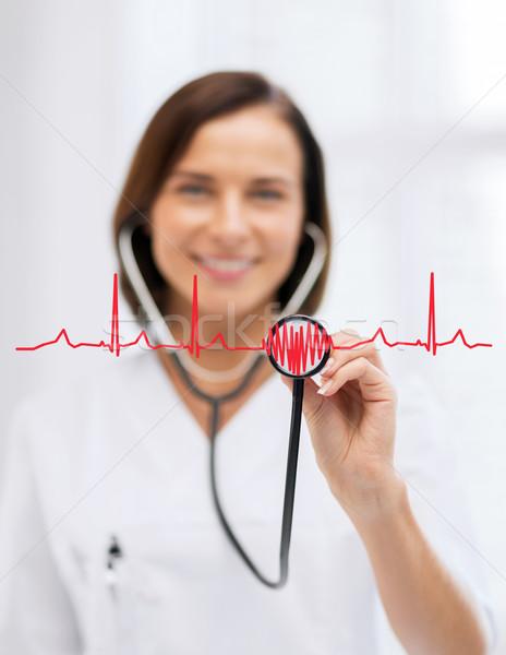 Stok fotoğraf: Kadın · doktor · stetoskop · sağlık · tıbbi · mutlu
