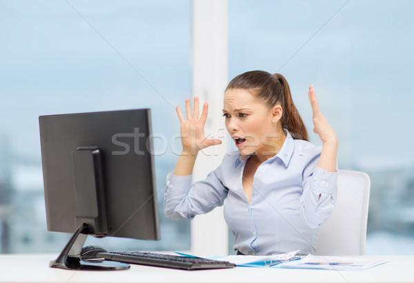 Vrouw computer business kantoor school probleem Stockfoto © dolgachov