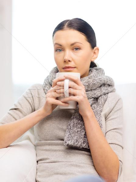 Beteg nő influenza otthon egészségügy gyógyszer Stock fotó © dolgachov