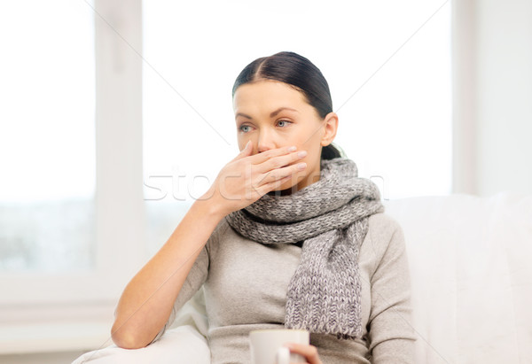 ill woman with flu at home Stock photo © dolgachov