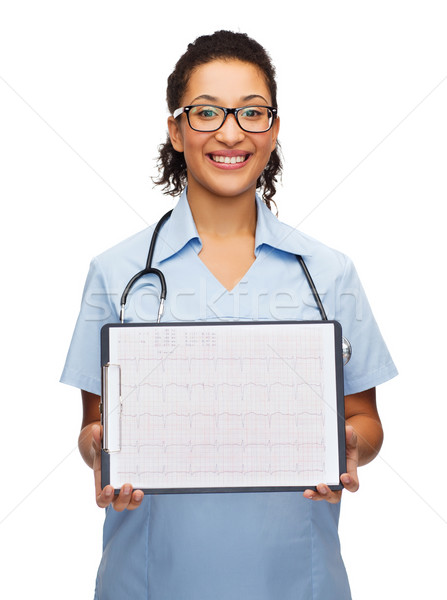 female doctor in eyeglasses with cardiogram Stock photo © dolgachov