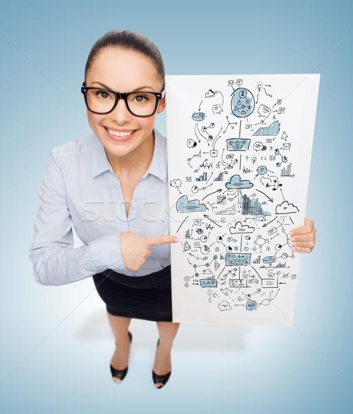 smiling businesswoman with white board with plan Stock photo © dolgachov
