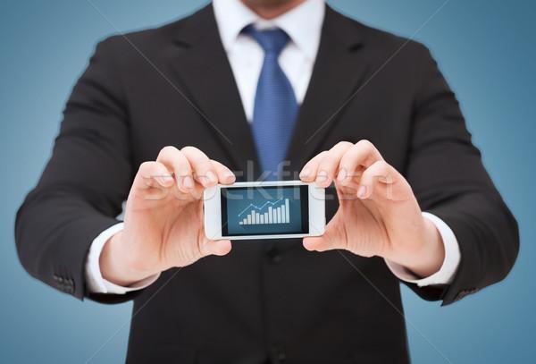 Man tonen smartphone grafiek scherm business Stockfoto © dolgachov