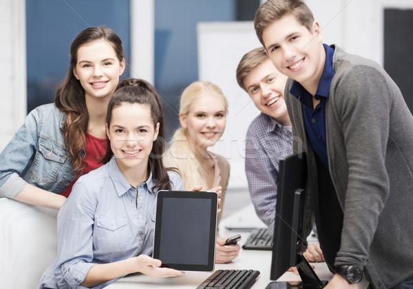 Stockfoto: Studenten · monitor · scherm · onderwijs · technologie