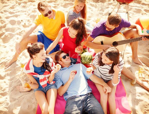 Stock fotó: Csoport · barátok · szórakozás · tengerpart · nyár · ünnepek