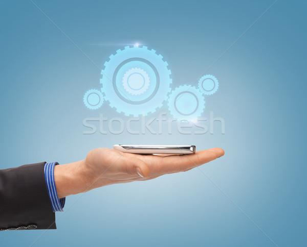 Erkek el hologram gelecek Stok fotoğraf © dolgachov