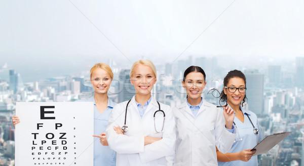 Gülen kadın göz doktorlar sağlık Stok fotoğraf © dolgachov