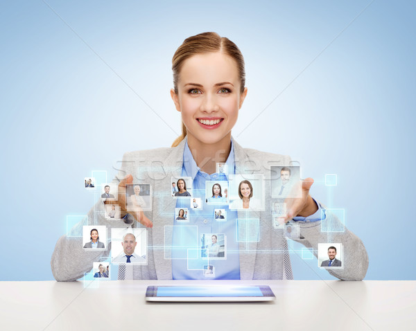 businesswoman with tablet pc and icons of contacts Stock photo © dolgachov