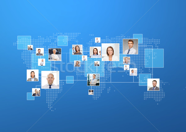 pictures of businesspeople over world map Stock photo © dolgachov