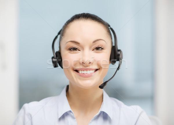 Női segélyvonal kezelő fejhallgató üzlet kommunikáció Stock fotó © dolgachov