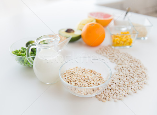 close up of food ingredients in letter b shape Stock photo © dolgachov