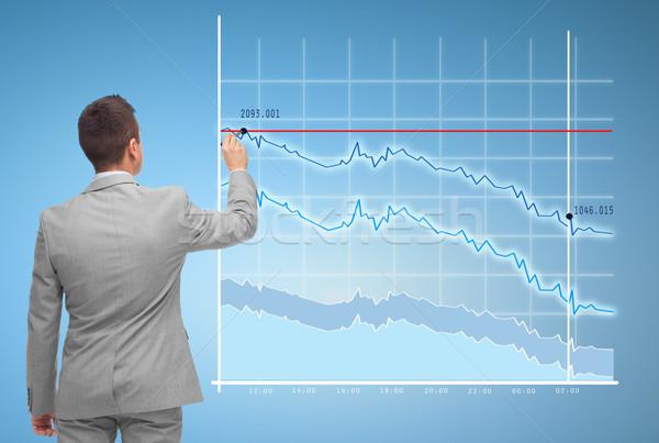 бизнесмен рисунок виртуальный диаграммы деловые люди статистика Сток-фото © dolgachov