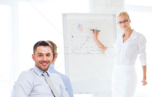 üzletember üzleti megbeszélés iroda kép mosolyog üzlet Stock fotó © dolgachov