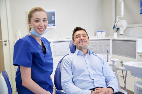 Boldog női fogorvos férfi beteg klinika Stock fotó © dolgachov