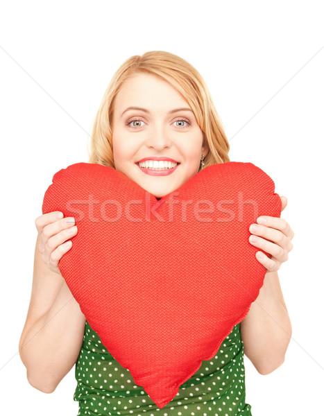 Vrouw Rood kussen witte gelukkig model Stockfoto © dolgachov