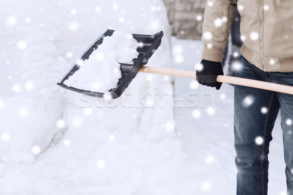 closeup of man digging snow with shovel near car Stock photo © dolgachov