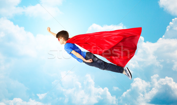Nino rojo máscara vuelo aire Foto stock © dolgachov