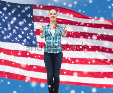 close up of women couple over american flag Stock photo © dolgachov