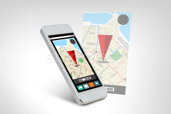 white smarthphone with gps navigator map on screen Stock photo © dolgachov