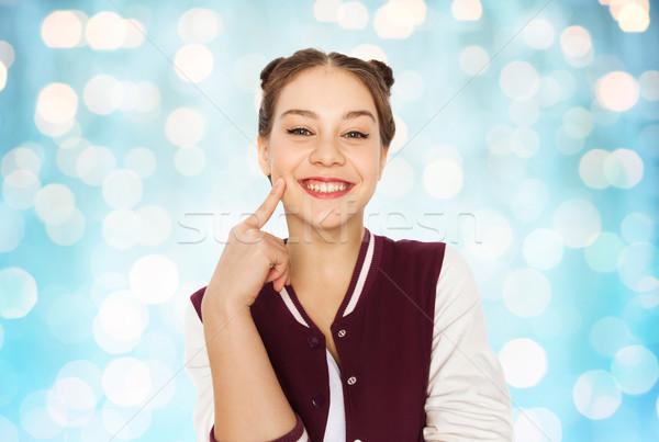 Boldog mosolyog csinos tinilány emberek tinédzserek Stock fotó © dolgachov