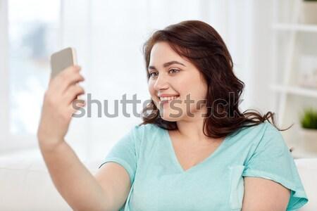 Artı boyutu kadın kredi kartı insanlar Internet Stok fotoğraf © dolgachov