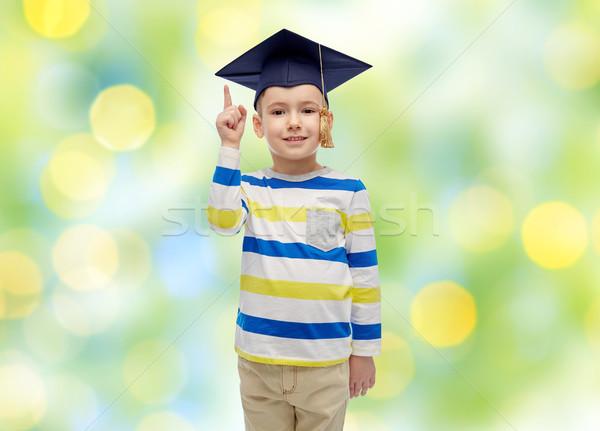 Bachelor hat Hinweis Finger up Stock foto © dolgachov